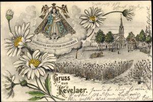 Präge Gold Litho Kevelaer am Niederrhein, Kirche, Margeriten, Gnadenbild