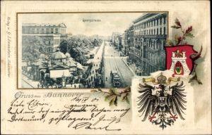 Präge Passepartout Litho Hannover in Niedersachsen, Georgstraße, Wappen