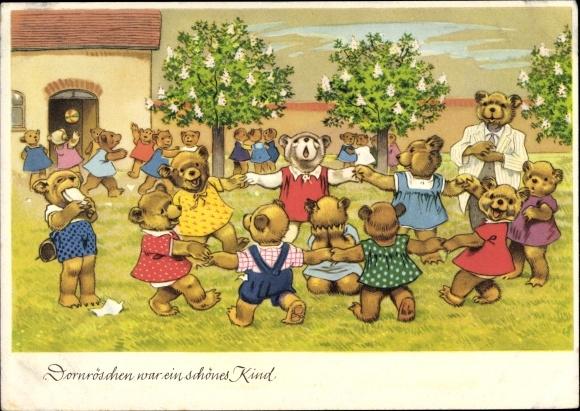 Künstler Ak Dornröschen war ein schönes Kind, vermenschlichte Bärenkinder, Tanz