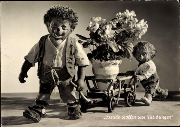 Ak Freude wollen wir dir bringen, Igel Mecki, Handwagen, Blumentopf, Glückwunsch Geburtstag