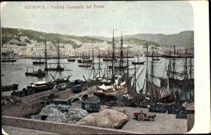 Ak Genova Genua Ligurien, Veduta Generale del Porto, navi a vela