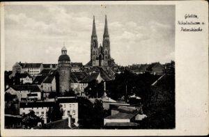 Ak Görlitz in der Lausitz, Teilansicht vom Ort, Nikolaiturm, Peterskirche