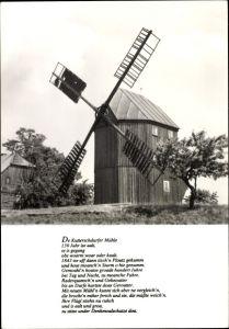 Ak Kottmarsdorf Kottmar in der Oberlausitz, Windmühle, Totalansicht, Gedicht Kutterschdurfer Mühle