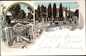 Litho Bad Pyrmont in Niedersachsen, Hotel zur Krone, Großer Speisesaal