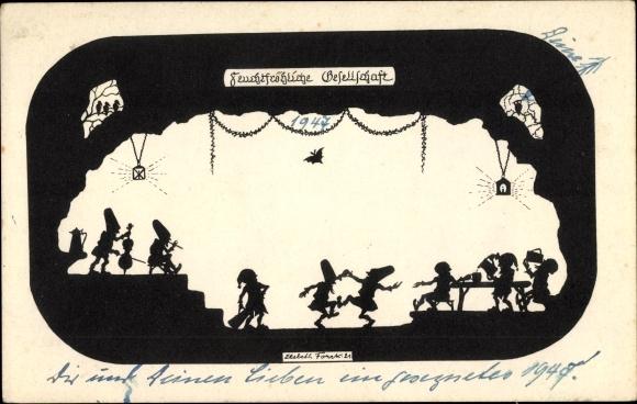 Scherenschnitt Ak Forck, Elsbeth, Feuchtfröhliche Gesellschaft, Zwerge
