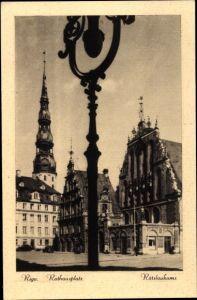 Ak Riga Lettland, Rathausplatz, Petrikirche