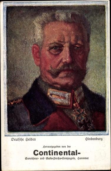 Künstler Ak Deutsche Helden Generalfeldmarschall Paul von Hindenburg,Continental