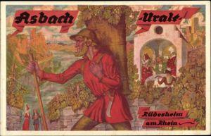 Künstler Ak Rüdesheim am Rhein in Hessen, Reklame für Asbach Uralt