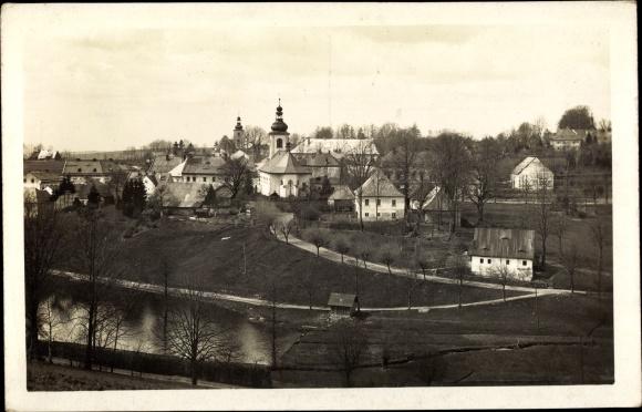 Ak Rokytnice v Orlických horách Rokitnitz Adlergebirge Reg. Königgrätz, Kirche, Ortspanorama