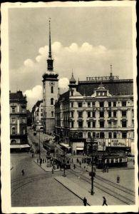 Ak Brno Brünn Südmähren, Kirchengasse, Jakobsturm, Kino Central, Straßenbahn