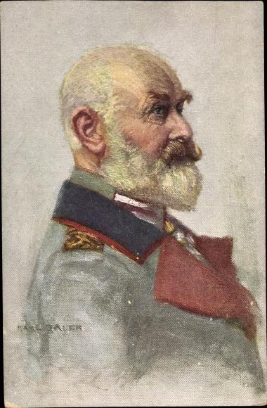 Künstler Ak Bauer, Karl, König Wilhelm II. von Württemberg, Portrait