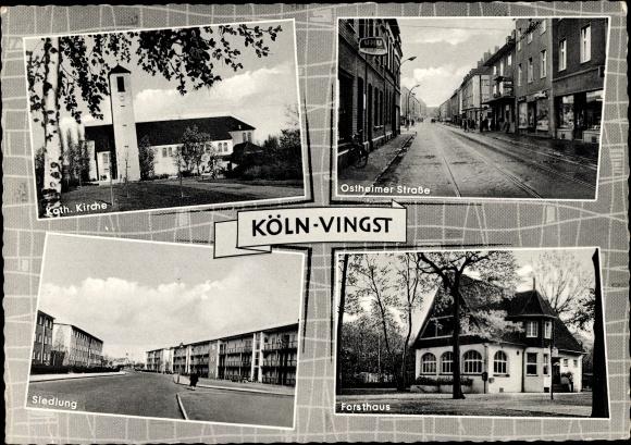 Ak Vingst Köln Nordrhein Westfalen, Kirche, Forsthaus, Siedlung, Ostheimer Straße