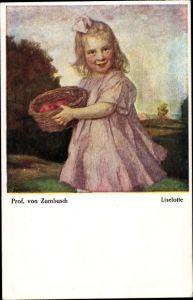 Künstler Ak v. Zumbusch, Ludwig, Liselotte, Mädchen mit Korb