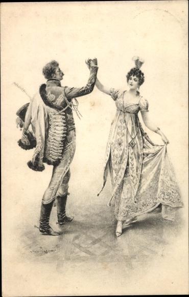 Künstler Ak Peraux, Lionel, Paar beim Tanz, historische Kleidung
