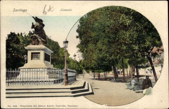Ak Santiago de Chile, Alameda, Denkmal