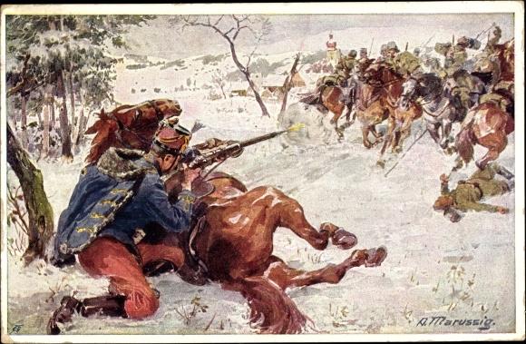 Künstler Ak Marussig, A., Husar Samuel Kralik, Husarenregiment Nr 6, Aus dem goldenen Buche der Arme