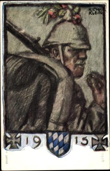 Künstler Ak Klein, Richard, Deutscher Infanterie Soldat, Bayrische Kriegsinvaliden Fürsorge 1915