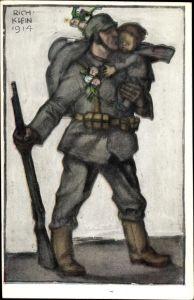 Künstler Ak Klein, Richard, Soldat mit Kleinkind, Bayrische Kriegsinvaliden Fürsorge