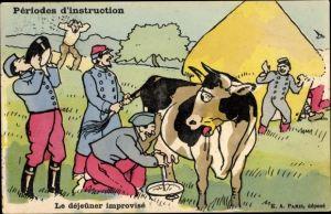Künstler Ak Le dejeuner improvisé, französische Soldaten melken Kuh