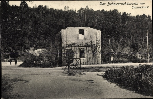 Ak Dannevoux Lothringen Meuse, Bahnwärterhäuschen, Kriegszerstörungen, I. WK