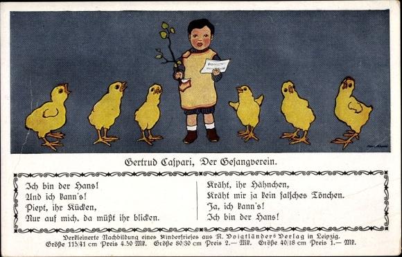 Künstler Ak Caspari, Gertrud, Der Gesangverein, Küken