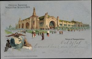 Litho St Louis Missouri USA, World's Fair 1904, Palace of Transportation
