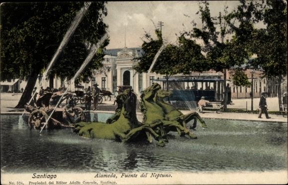 Ak Santiago de Chile, Alameda, Fuente del Neptuno, Straßenbahn