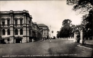 Ak Colombo Ceylon Sri Lanka, Queen's Street, General Post Office, Queen's House