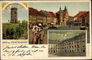 Litho Hildburghausen in Thüringen, Aussichtsturm auf dem Stadtberg, Markt