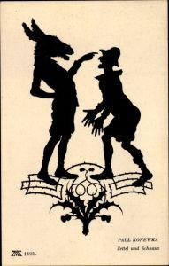 Scherenschnitt Ak Konewka, Paul, Zettel, Schnauz, Ein Sommernachtstraum, Ackermann Serie 110 Nr 1405