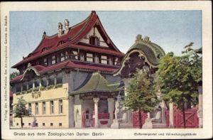 Ak Berlin Tiergarten, Zoologischer Garten, Elefantenportal und Verwaltungsgebäude