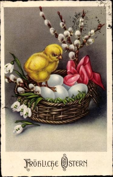 Ak Glückwunsch Ostern, Küken auf Eierkorb, Weidenkätzchen, Schneeglöckchen