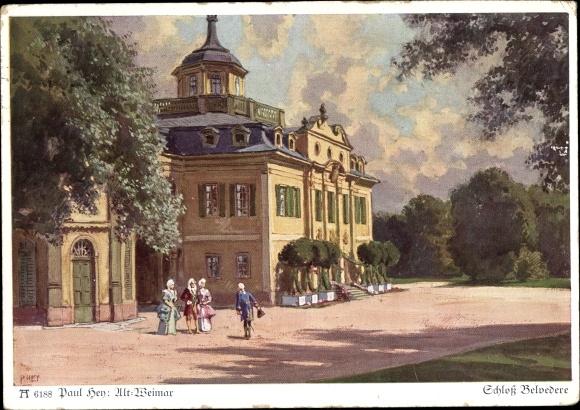 Künstler Ak Hey, Paul, Weimar in Thüringen, Schloss Belvedere, Ackermann 624