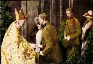 Künstler Ak König Albert I. von Belgien, König Leopold III., Cardinal Mercier