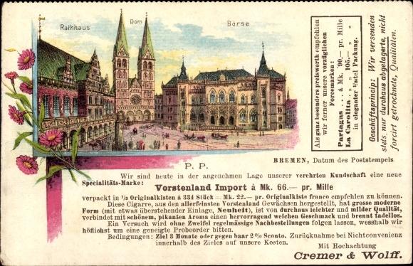 Passepartout Litho Hansestadt Bremen, Rathaus, Börse, Dom, Werbung Cremer & Wolff