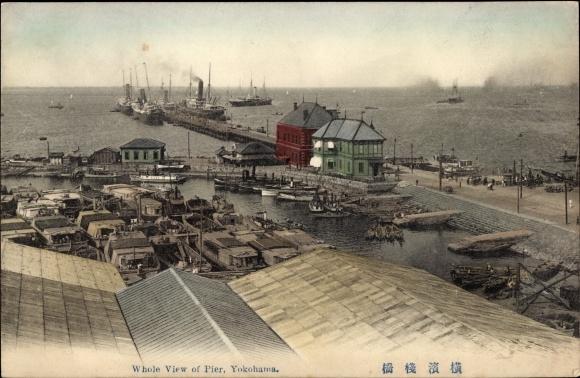 Ak Yokohama Präf. Kanagawa Japan, Whole view of Pier