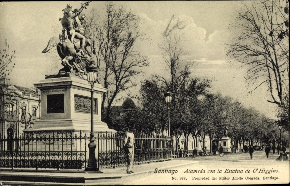 Ak Santiago de Chile, Alameda con la Estatua de O'Higgins