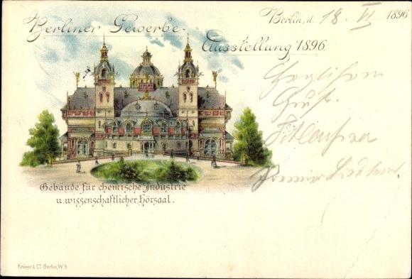 Litho Berlin, Gewerbeausstellung 1896, Gebäude für chemische Industrie, Wissenschaftlicher Hörsaal