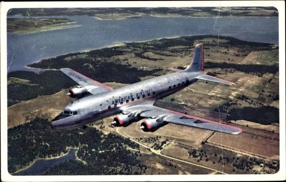 Ak Amerikanisches Passagierflugzeug American Airlines