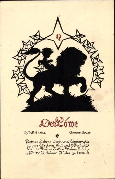 Scherenschnitt Ak Sternzeichen Löwe, Leo, 23. Juli bis 22. August, Boldt Kaiser Karte 600/8