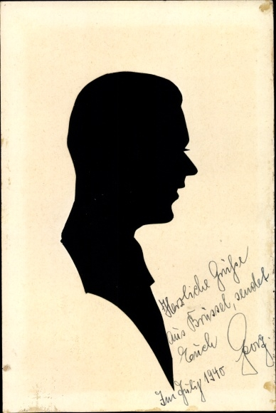 Scherenschnitt Ak Silhouette, Schattenriss, seitliches Profil