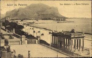 Ak Palermo Sicilia, Foro Umberto I. e Monte Pellegrino