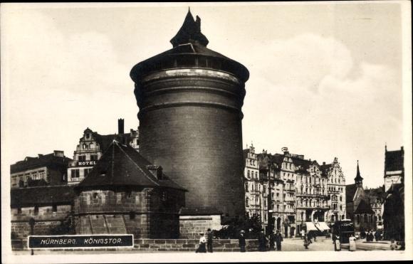 Ak Nürnberg in Mittelfranken Bayern, Königstor