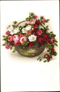 Künstler Litho Blumen, Blumenkorb, Meissner & Buch 2433