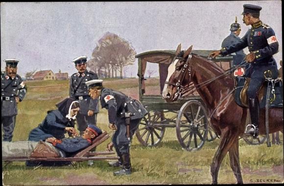Künstler Ak Becker, Carl, Sanitäter versorgen verletzten Soldaten, Deutsches Rotes Kreuz 1914