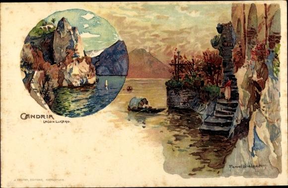 Künstler Litho Wielandt, Manuel, Gandria Lago di Lugano Kt. Tessin Schweiz, Uferpartie