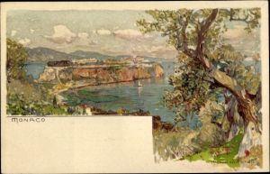 Künstler Litho Wielandt, Manuel, Monaco, Küstenpanorama