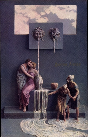 Künstler Ak Mastroianni, Domenico, Quelle der Jugend, Bonne Année, Neujahr