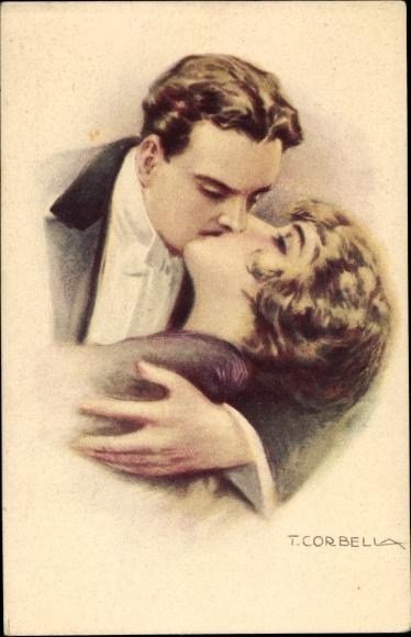 Künstler Ak Corbella, T., Liebespaar beim Kuss