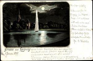 Mondschein Litho Leipzig in Sachsen, Johannapark, Teichpartie, Fontäne, Lutherkirche